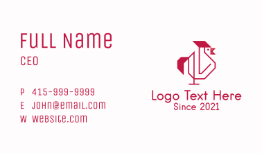 Red Outline Rooster  Business Card