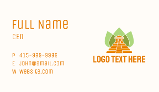 Ancient Temple Leaves Business Card