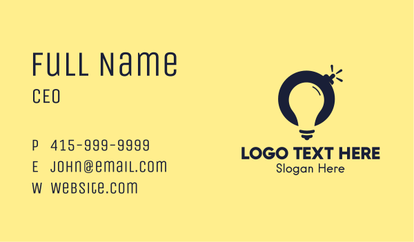 grenade - Light Bulb Bomb Business card horizontal design