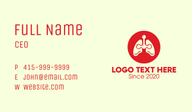 Red Respiratory Lungs Business Card