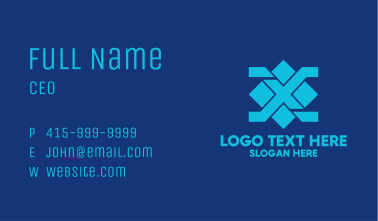 Blue Diamond Letter X Business Card