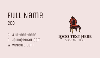 Vintage Home Chair Business Card