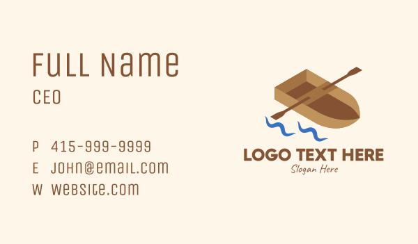 fishing - Isometric Row Boat Business card horizontal design