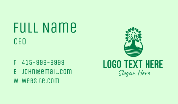 growing - Green Growing Tree  Business card horizontal design