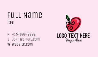 Lovely Apple Heart Business Card