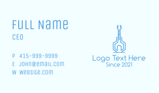 Blue Abstract Guitar Business Card