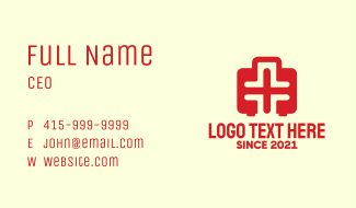 Red Medical Emergency Kit Business Card