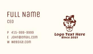 Mustache Man Cartoon Business Card