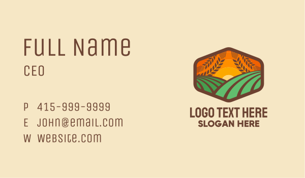 fields - Meadow Sunrise Badge Business card horizontal design
