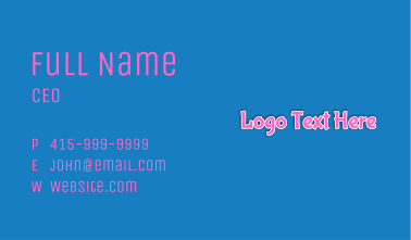 Bubblegum Wordmark Business Card