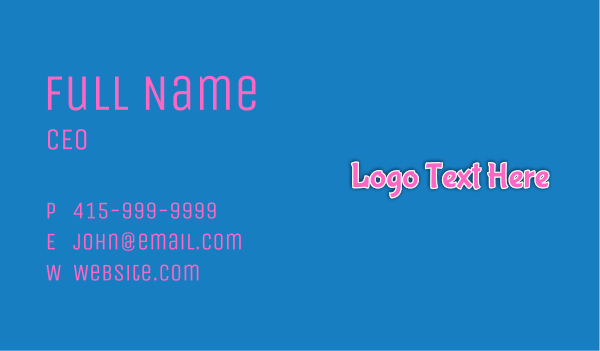 pop art - Bubblegum Wordmark Business card horizontal design