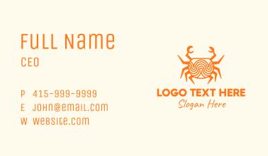 Orange Minimalist Crab Business Card