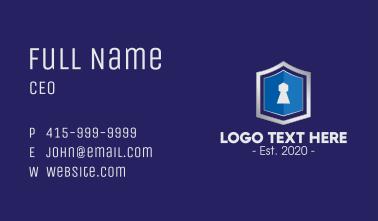 Metallic Keyhole Shield Business Card