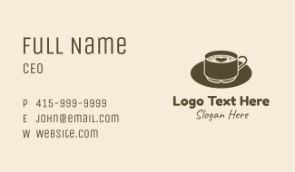 Brown Heart Coffee Froth Business Card