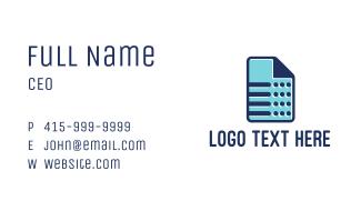 Blue Sheet Business Card