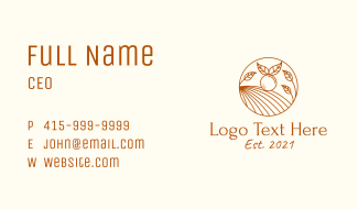 Orange Farm Line Art Business Card