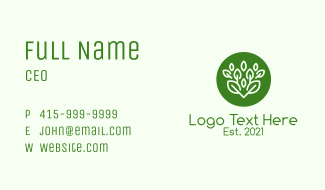 Green Herbal Plant Business Card