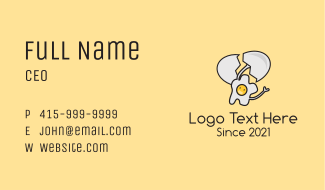 Happy Egg Mascot  Business Card