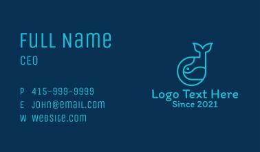 Blue Minimalist Whale Business Card