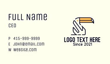 Minimalist Toucan Outline Business Card