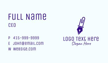 Pen Paper Clip Business Card