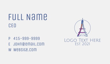 Colorful Eiffel Tower Business Card