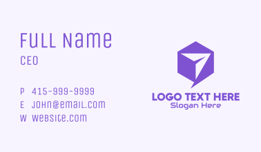 Violet Paper Airplane Hexagon Business Card