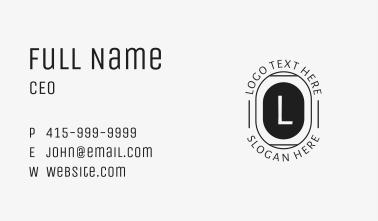 Black Hipster Letter  Business Card