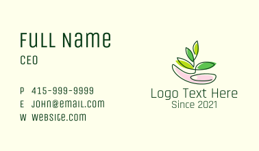 Gardener Hand Leaf Business Card