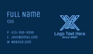 Letter X Digital Circuit Business Card