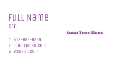 Purple & Traditional Business Card