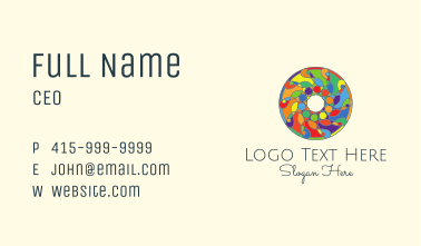 Colorful Round Stained Glass Business Card