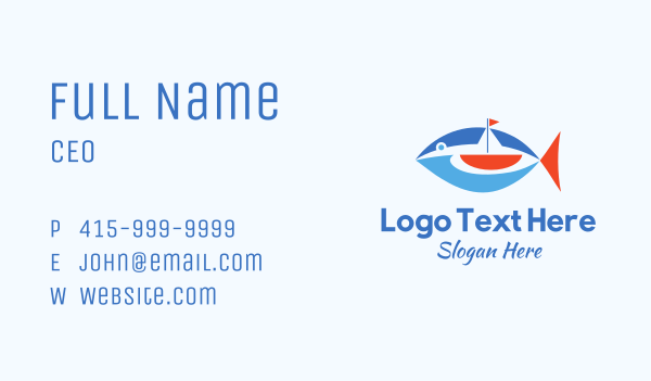 tuna - Boat Tuna Fish Business card horizontal design