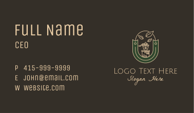 Coffee Grinder Emblem Business Card