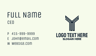 Modern Engineering Letter Y Business Card