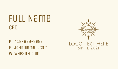Mountaineering Camp Compass Business Card