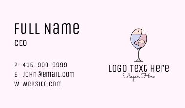 Fish & Wine Monoline Business Card