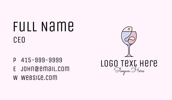 drunk - Fish & Wine Monoline Business card horizontal design