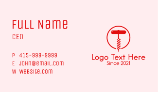 Red Wine Corkscrew Business Card