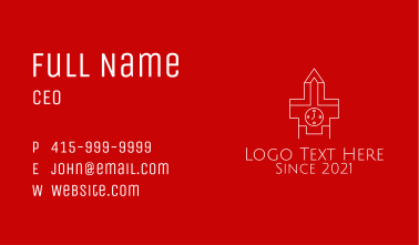 White Outline Clock  Business Card