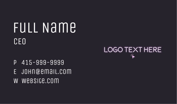 tap - Click Neon Light Wordmark Business card horizontal design