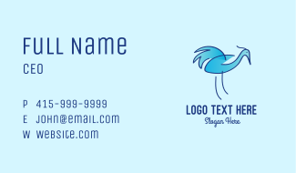 Blue Crane Bird  Business Card