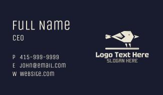 White Geometric Sparrow Business Card