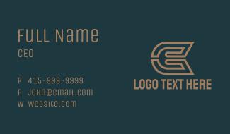 Bronze Letter CE Monogram Business Card