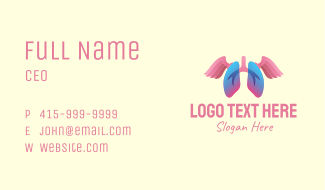 Pink Lung Wings Business Card
