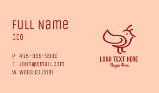 Minimalist Red Bird Business Card