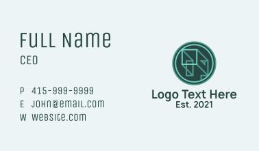 Geometric Linear Cube Business Card