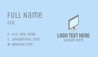 3D Computer Monitor  Business Card