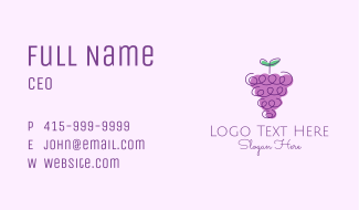 Grape Fruit Line Art  Business Card