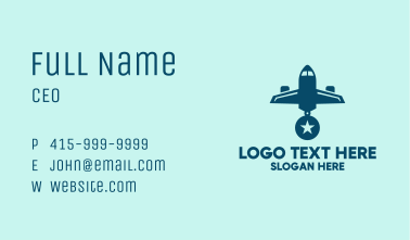 Blue Airplane Medal Business Card